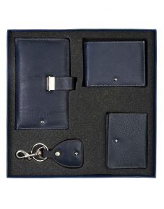 JL Collections Navy Blue Men's & Women's Leather Gift Sets (Pack Of 4)