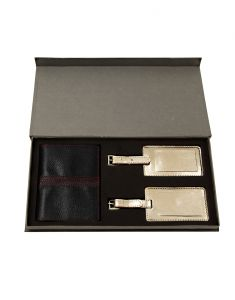 Jl Collections Blue Leather Passport Holder With Gold Luggage Tag Gift Sets (pack Of 3)