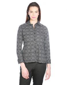 OPUS Black Cotton Formal Geometric Print Western Wear Women's Shirt (Code - SH_011A_BK)