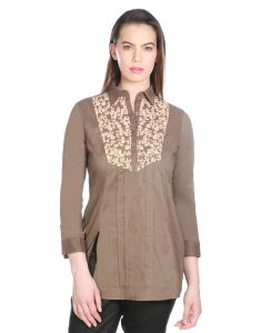 Opus Burnt Olive Cambric Cotton Partywear Embroidered Fusion Wear Women