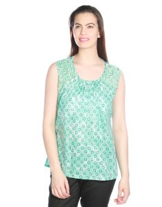 Opus Sea Green Cotton Party Embellished Fusion Wear Women