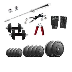 Diamond Weightlifting Package Of 20Kg Weight With 4Ft Plain Rod For Perfect Health & Fitness