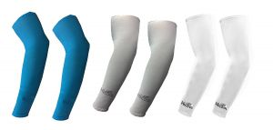 Hi Cool Arm Sleeves For UV Sun Protection And Sports(Blue, Grey, White) - 3 Pairs
