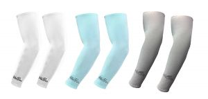 Hi Cool Arm Sleeves For UV Sun Protection And Sports(White, Green, Grey) - 3 Pairs