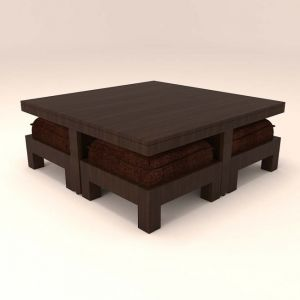 Caspian Stylish 4 Stool Centre Table With  Dark Brown Cushions.
