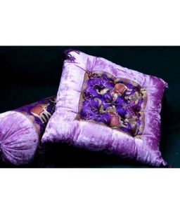 Jodhaa Cushion In Velvet And Brocade With Elephant Patch Lavender & Gold