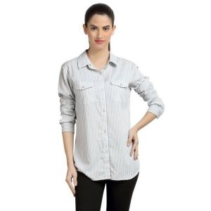 Loco En Cabeza Stripe Rayon Womens Button Down Shirt-(Product Code-CZWT0053)