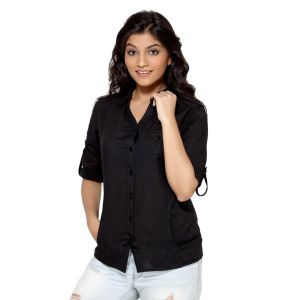 Loco En Cabeza Solid Black Cotton Womens Long Sleeve Shirt For Women - (Product Code - CZWT0005)