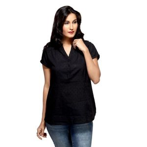 Loco En Cabeza Cotton Black V Neck Top For Women - (Product Code - CZWT0014)