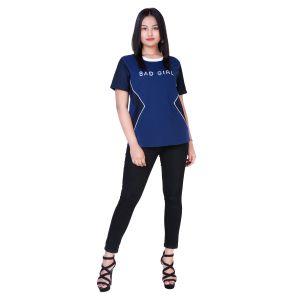 Chimera Royal Blue Half Sleeve Solid Viscose Round Neck T Shirt For Women Chc1105arbl