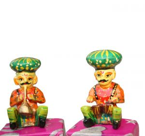 Set Of 6 Handmade Hand Painted Wooden Musicians - Showpiece, Indian Culture Toys