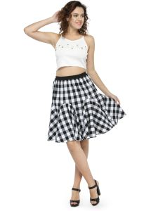 Hive91 Short Skirts For Women Balck Color, Elastic Clouser Casual Checkered Skirt (Code - RH73SSKBW)