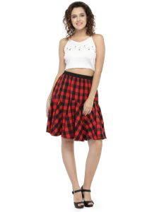 Hive91 Red Short Skirts For Women, Cotton Fabric, Elastic Clouser Casual Skirts (Code - RH74SSKRD)