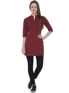 Hive91 Red Checkered Tunic For Women 3/4 Sleeve In Cotton Fabric (Code - RH99TURD)