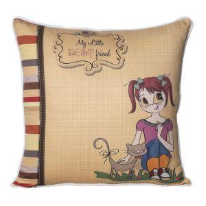 Monogram Multicolour Square Polyester Cushion Cover With Digital Print-5 Pcs Set -Multicolour (Code - 552A1800)