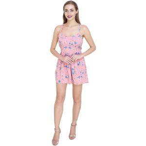 Floral Print Pink Beach Wear Criss Cross Top(SG-TP-003)