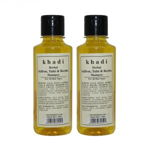 Khadi Herbal Saffron, Tulsi & Reetha Shampoo - 210ml (Set Of 2)