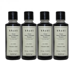 Khadi Herbal Amla & Bhringraj Shampoo SLS-Paraben Free - 210ml (Set Of 4)