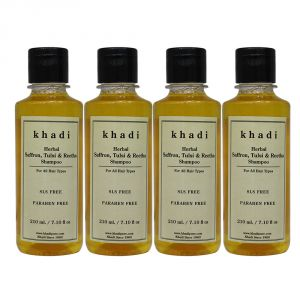 Khadi Herbal Saffron, Tulsi & Reetha Shampoo SLS-Paraben Free - 210ml (Set Of 4)