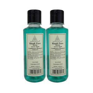 Khadi Pure Herbal Green Apple Shampoo   Conditioner SLS-Paraben Free - 210ml (Set Of 2)