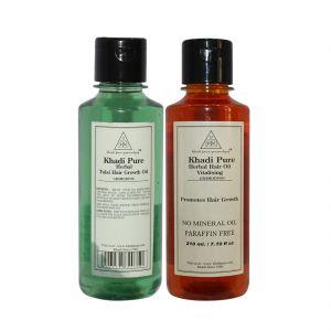 Khadi Pure Tulsi Hair Growth Oil And Vitalising Hair Oil Combo (420ml) Pack 2