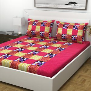 Indiana Home Abstract Design Multicolour Cotton Double Bed Sheet With 2 Pillow Cover (Code - ELG1018)