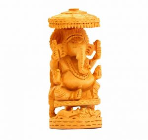 Arts Of India Wooden Handcrafted Decorative Ganesh Ido With Chattari (Code - SECG03)