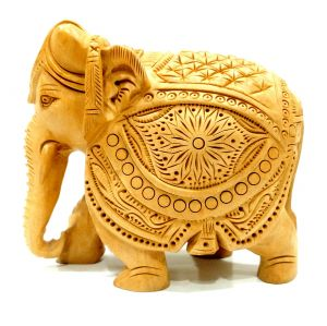 Artistic India Wooden Handcrafted Decorative Elephant Down Trunk (Code - SEEPS4)