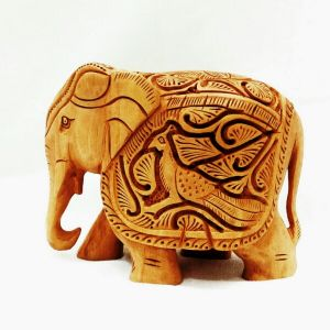 Arts Of India Beige Wooded Decorative Elephant With Peacock Design (Code SEEDSP4)