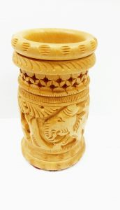 Arts Of India Wooden Handcrafted Decorative Pen Stand With Top Jaali (Code - SEPSJG)