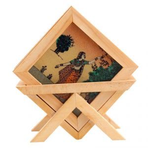 Arts Of India Wooden Square Coasters With Stand- Pack Of 6 (Code - SEPTC6-S)