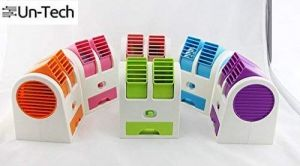Untech Portable Mini USB Air Conditioner Cooling Fan Dual Bladeless Air Cooler (multi Color)