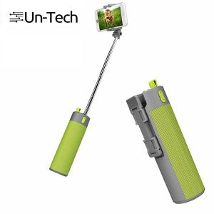 Untech Selfie Stick With Wireless Speaker And Power Bank Of 2000 mAh Mobile Holder - Green
