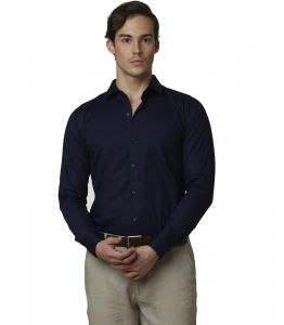 Formal Shirts (Men's) - Lisova Navy blue Men's Plain Formal Slim Fit Shirt