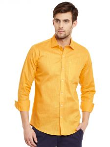 Lisova Yellow Solid Linen Slim Fit Formal Shirt
