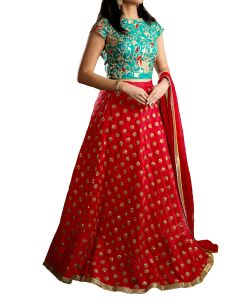 Women's Clothing - Designer Red And Rama Green Banarasi Silk Embroidered Sequence Work Lehenga Choli(code - kts3082)
