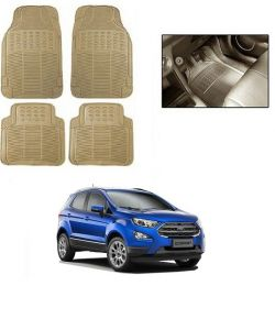 Car Accessories - Trigcars cream rubber floor mat for Ford EcoSport