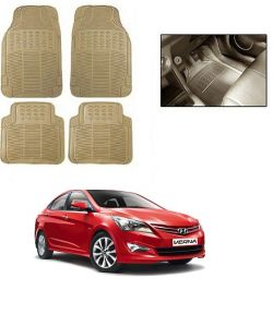 Trigcars Cream Rubber Floor Mat For Hyundai Verna