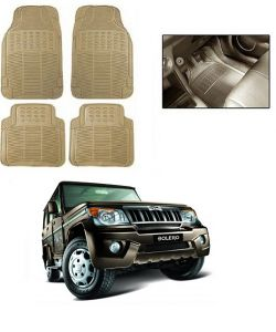 Trigcars Cream Rubber Floor Mat For Mahindra Bolero