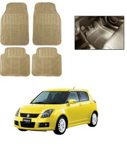 Trigcars Cream Rubber Floor Mat For Maruti Suzuki Swift 2015-16