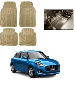 Trigcars Cream Rubber Floor Mat For Maruti Suzuki Swift 2018
