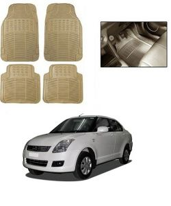 Trigcars Cream Rubber Floor Mat For Maruti Suzuki Swift Dzire 2008-2010