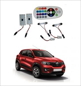 Led lights for cars - Trigcars Renault Kwid 2 X 16 Colors RGB Bright 5050 Led Car Roof Dome Light Festoon   T10 Ir Remote