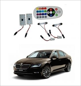 Led lights for cars - Trigcars Skoda Superb 2 X 16 Colors RGB Bright 5050 Led Car Roof Dome Light Festoon   T10 Ir Remote