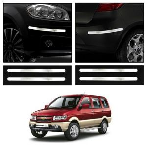 Safety guards - Trigcars Chevrolet Tavera Car Chrome Bumper Scratch Potection Guard   Car Bluetooth
