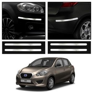 Safety guards - Trigcars Datsun Go Car Chrome Bumper Scratch Potection Guard   Car Bluetooth