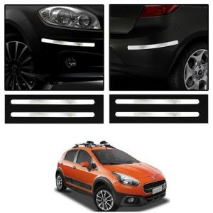 Safety guards - Trigcars Fiat Avventura Car Chrome Bumper Scratch Potection Guard   Car Bluetooth