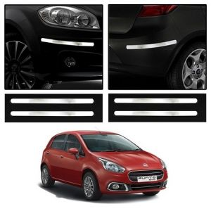 Safety guards - Trigcars Fiat Punto Car Chrome Bumper Scratch Potection Guard   Car Bluetooth