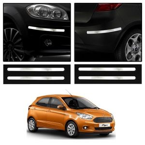 Safety guards - Trigcars Ford Figo New Car Chrome Bumper Scratch Potection Guard   Car Bluetooth