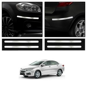 Safety guards - Trigcars Honda City New Car Chrome Bumper Scratch Potection Guard   Car Bluetooth